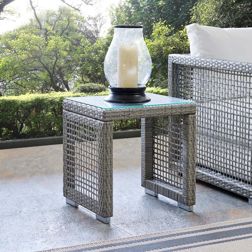 Aura Wicker Outdoor Side Table in Gray