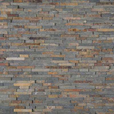 Rustique Interlocking 8 in. x 18 in. x 10mm Slate Mesh-Mounted Mosaic Wall Tile (10 sq. ft. / case)