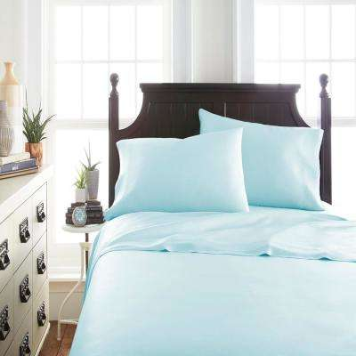 Home Collection 4-Piece Aqua Solid 300 Thread Count Rayon From Bamboo Full Sheet Set