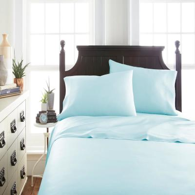 4-Piece Aqua Solid 300 Thread Count Rayon From Bamboo Queen Sheet Set