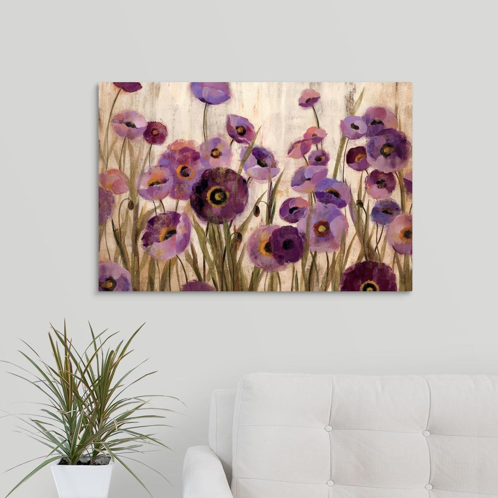 Pink And Purple Flowers By Silvia Vileva Canvas Wall Art
