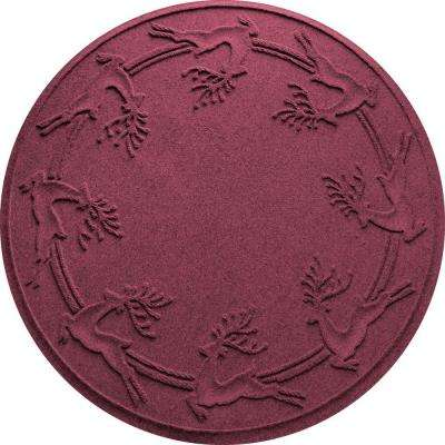 Bordeaux 35 in. Round Reindeer Run Under the Tree Mat