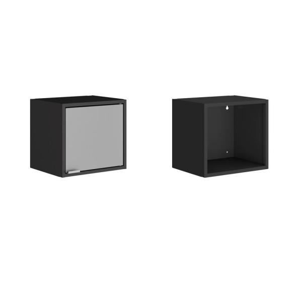 Smart 12.59 in. H x 13.77 in. W x 11.22 in. D Floating Cabinet and Display Shelf in Black and Grey (Set of 2)