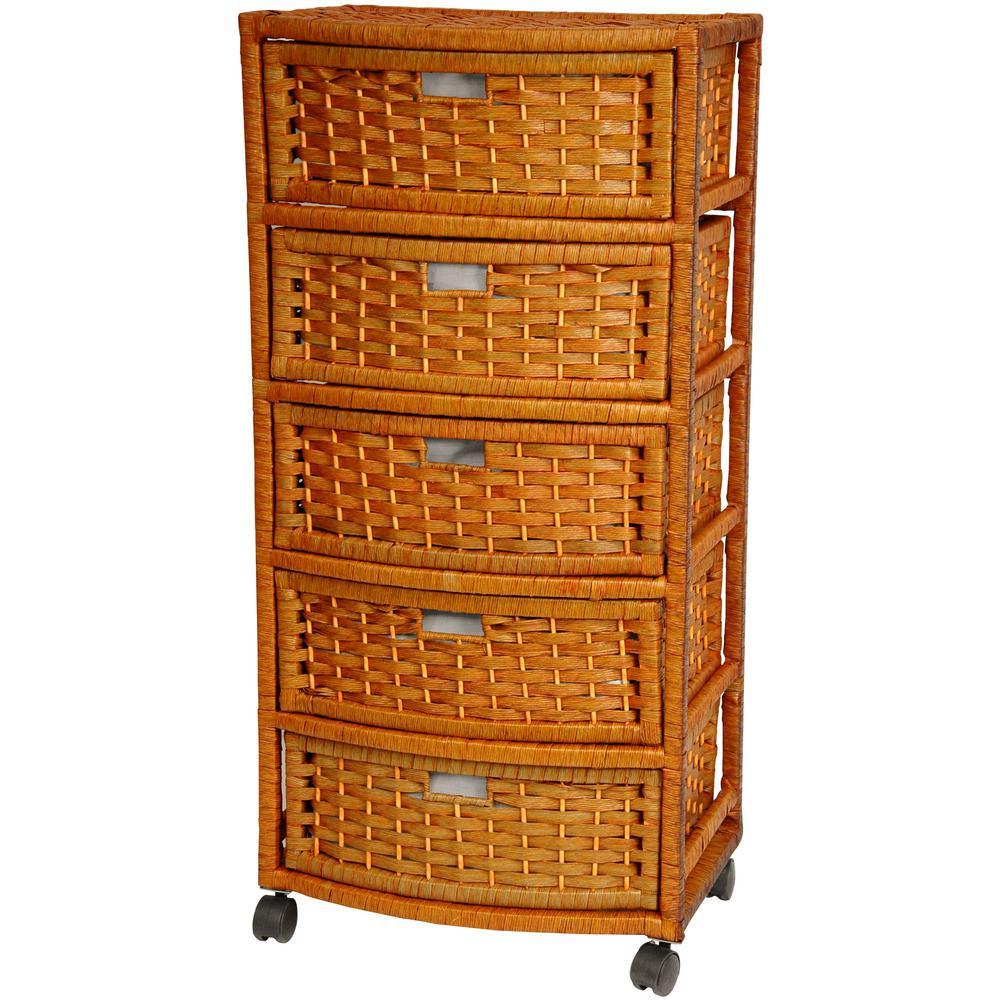 Oriental furniture 5 drawer honey natural fiber trunk jh09 051 5 hon the home depot