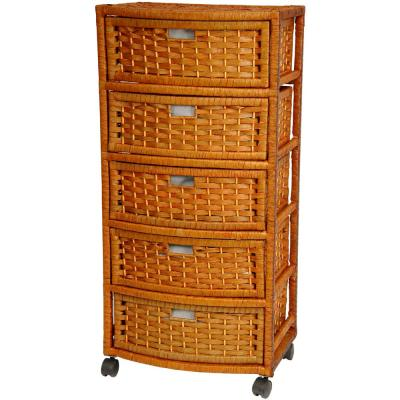 5-Drawer Honey Natural Fiber Trunk