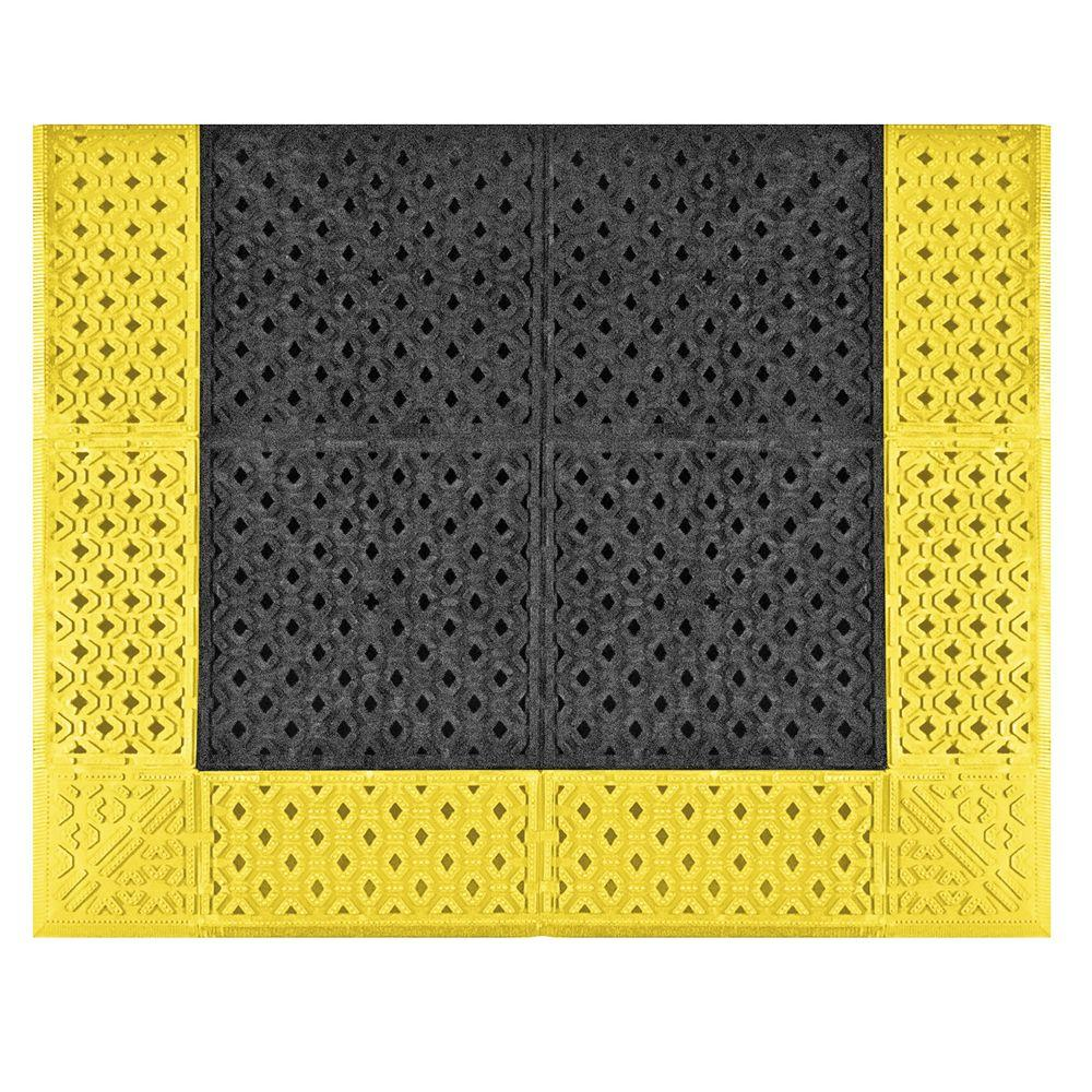 NoTrax Cushion-Lok Black Gritted Grip-Step with Yellow Safety Border 30 in. x 60 in. PVC Anti-Fatigue/Safety Mat