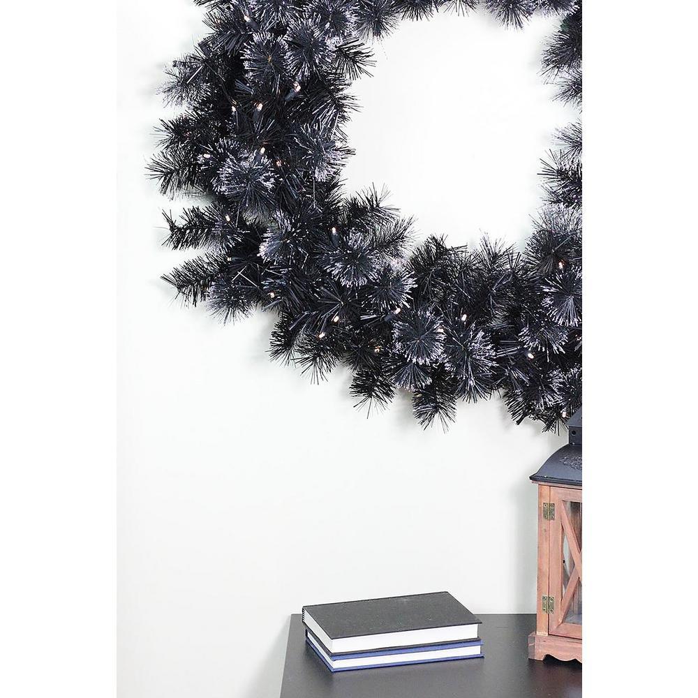 36 in. Pre-Lit LED Black Bristle Artificial Christmas Wre...