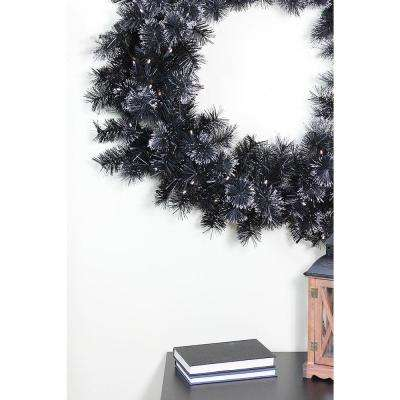 36 in. Pre-Lit LED Black Bristle Artificial Christmas Wreath