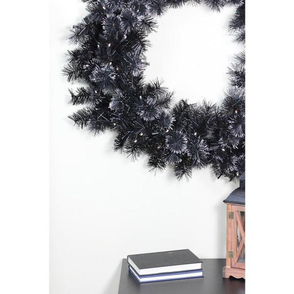 Northlight 36 in. Pre-Lit LED Black Bristle Artificial Christmas Wreath 31742027