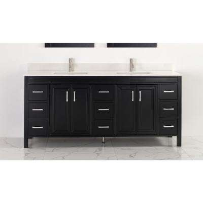 Dawlish 75 in. W x 22 in. D Vanity in Espresso with Engineered Vanity Top