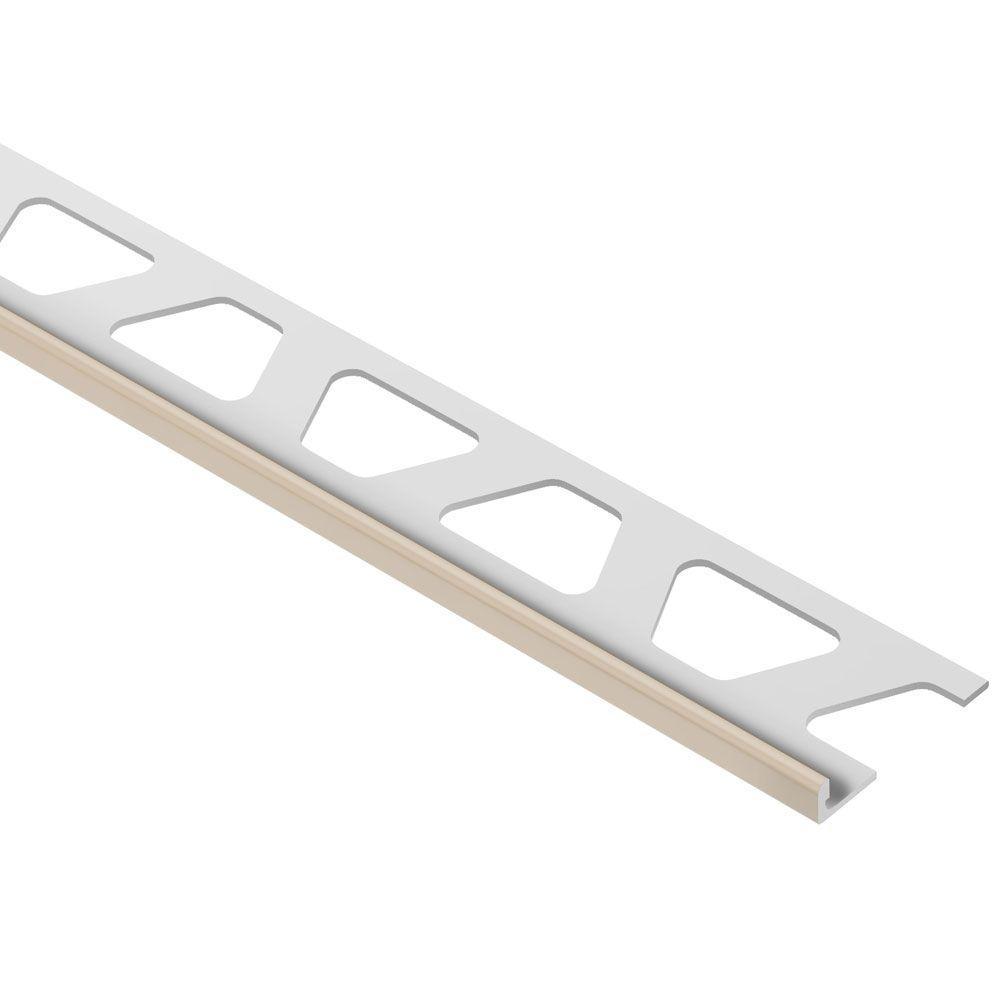 Jolly Light Beige Color-Coated Aluminum 3/16 in. x 8 ft. 2-1/2 in. Metal Tile Edging Trim