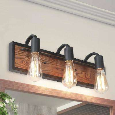 3-Light Black Rustic Vanity Light