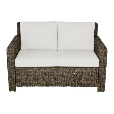 Laguna Point Brown Wicker Outdoor Patio Loveseat with CushionGuard Chalk White Cushions