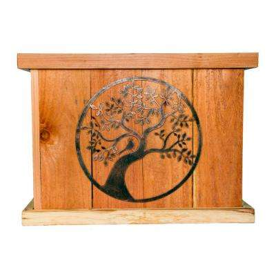 22 in. x 22 in. Deluxe Redwood Planter with Bronze Oak Tree Art