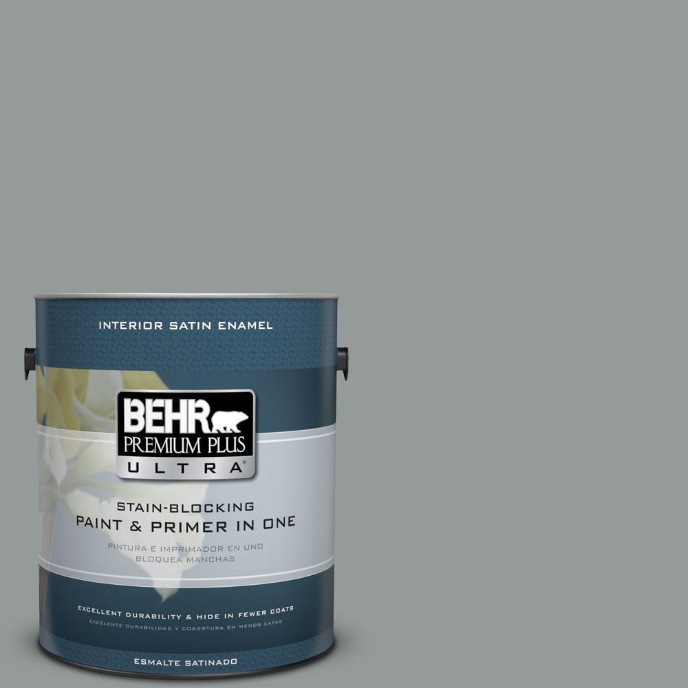 1-gal. #BXC-66 Dusk Blue Satin Enamel Interior Paint