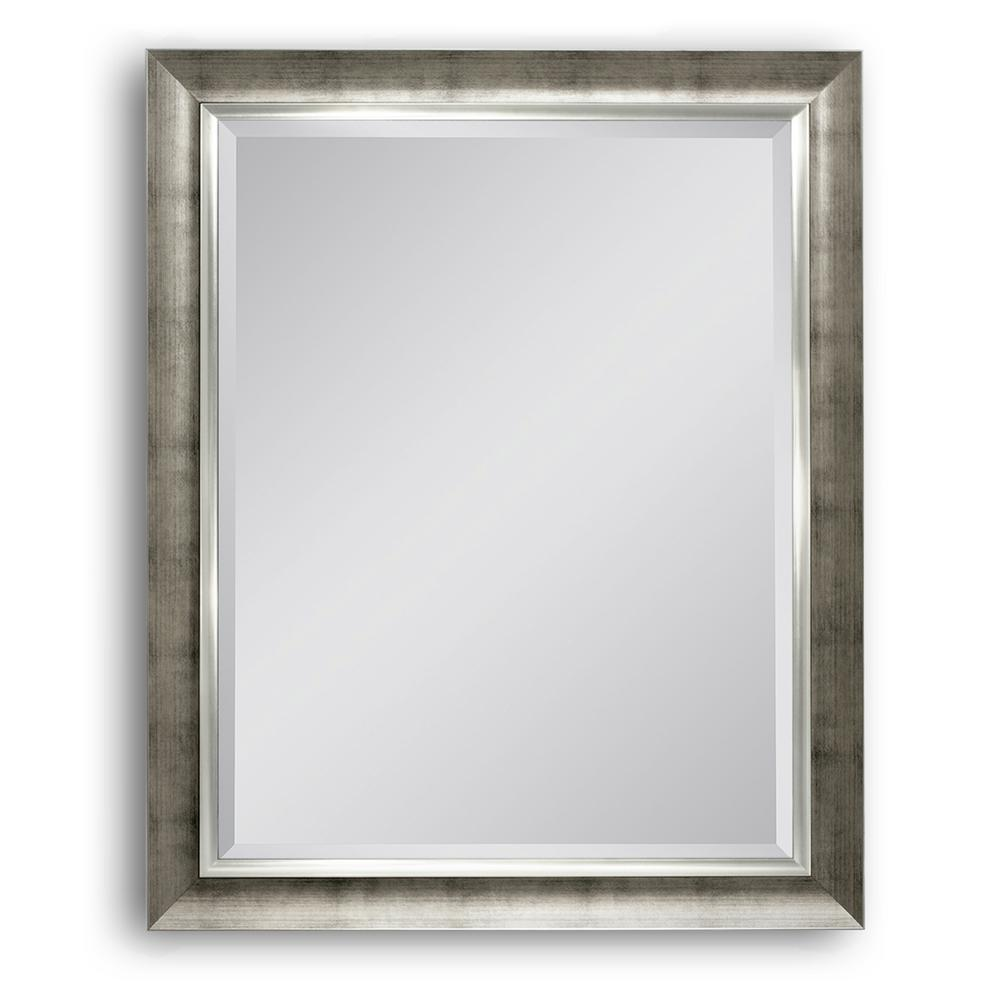 28 in. W x 34 in. H Brushed Champagne Wall Mirror