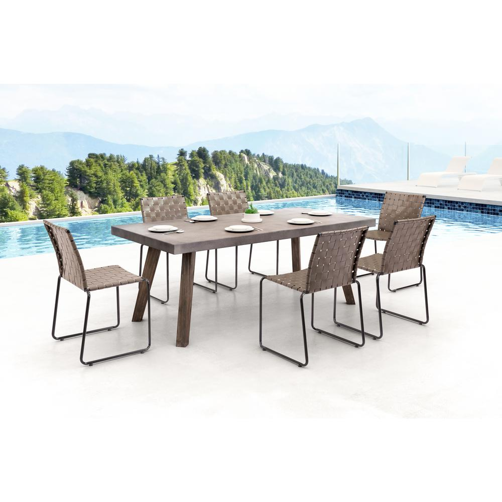 ZUO Beckett Armless Metal Outdoor Dining Chair In Espresso (4 Pack)