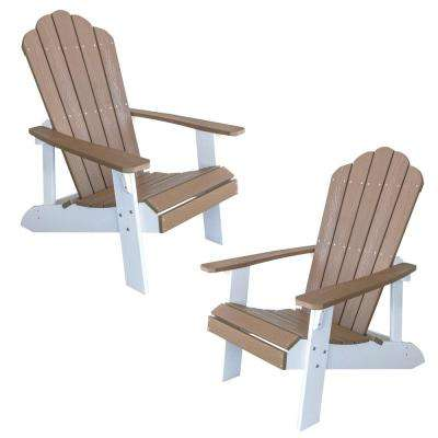Tan with White Accents 2-Tone Outdoor Adirondack Chair with Durable Faux Wood Construction (2-Piece Set)