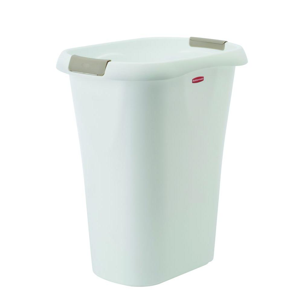 Rubbermaid 8 Gal. White Rectangular Trash Can with LinerLock ...