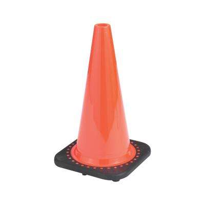 18 in. Orange PVC Non-Reflective Traffic Safety Cone (6-Pack)