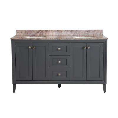 Austell 61 in. W x 22 in. D Vanity in Graphite Gray with Stone Effects Vanity Top in Cold Fusion with White Basin