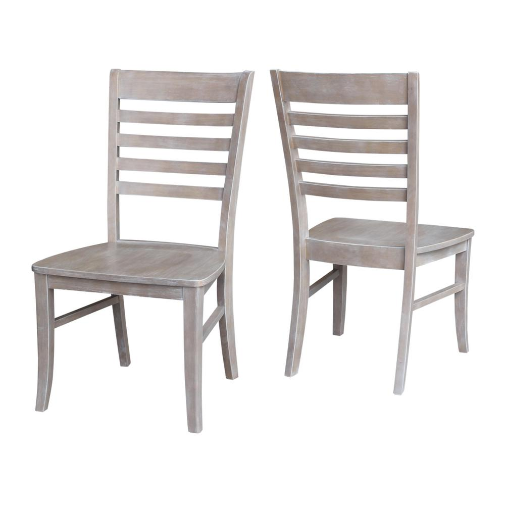 Etonnant International Concepts Milan Weathered Taupe Gray Wood Dining Chair (Set Of  2)
