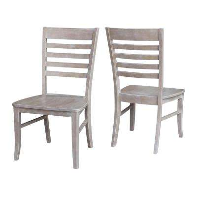 Milan Weathered Taupe Gray Wood Dining Chair (Set of 2)