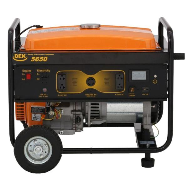 DEK 7345-Watt Gasoline Powered Portable Generator with 420cc, 100% Copper Alternator and 12 Gallon Gas Tank
