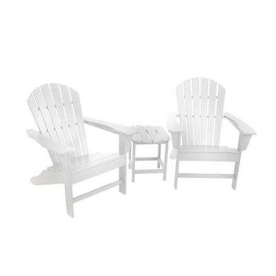 South Beach White 3-Piece Adirondack Patio Seating Set