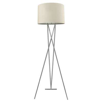 Trition 1-Light Polished Chrome Tripod Floor Lamp With Latte Linen Shade