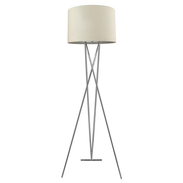 Trition 68 in. 1-Light Polished Chrome Tripod Floor Lamp With Latte Linen Shade