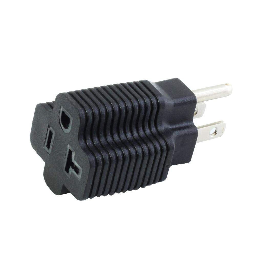 AC WORKS Plug Adapter 15 Amp Household Plug to 20 Amp T-Blade Female ...