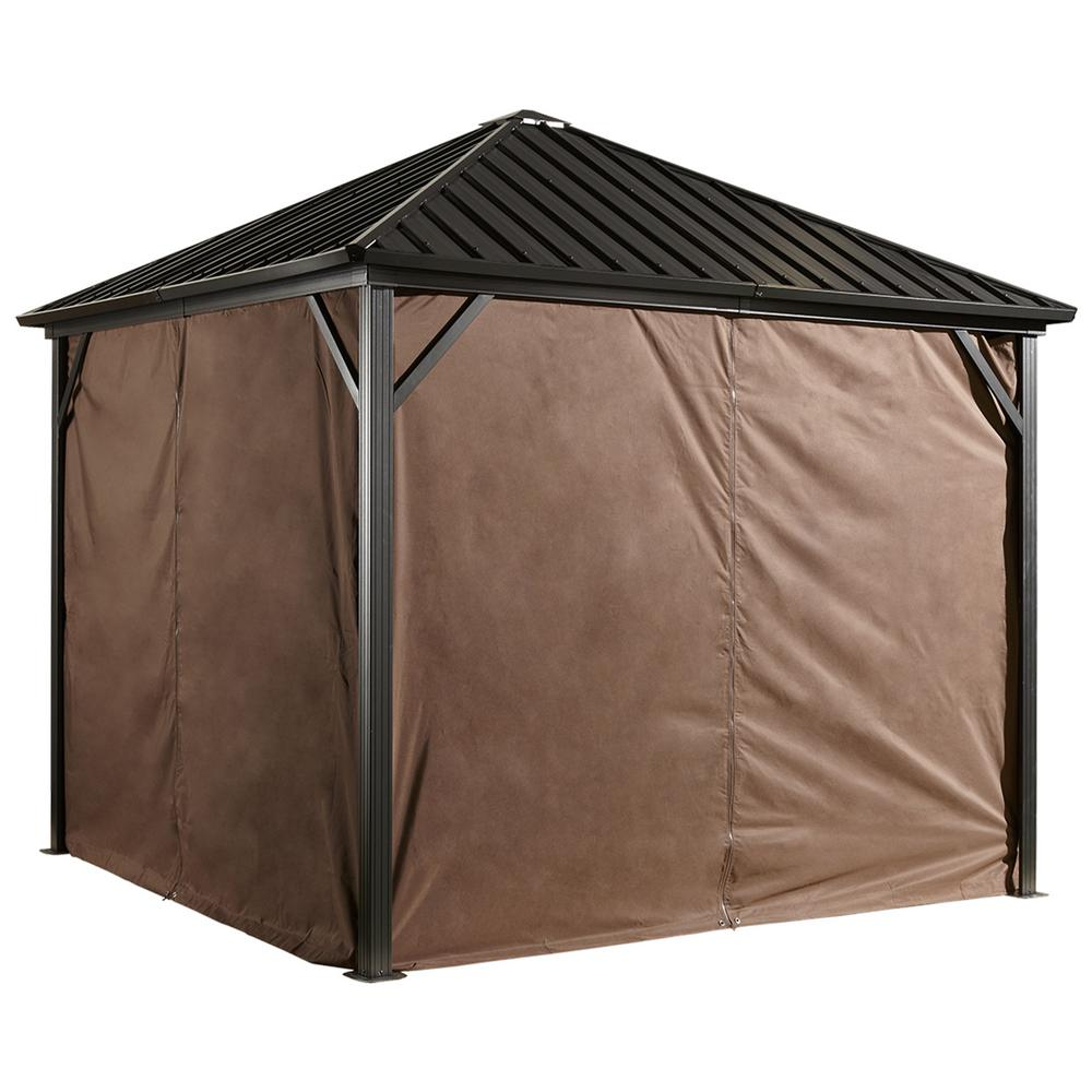 Sojag 10 ft. W x 12 ft. H Curtains for Brown Dakota Sun Shelter with Zippers and Steel Hooks (Gazebo Not Included)