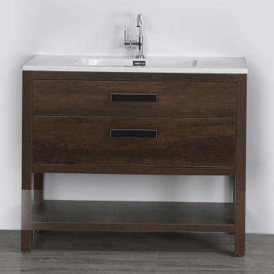 39.4 in. W x 32.3 in. H Bath Vanity in Brown with Resin Vanity Top in White with White Basin