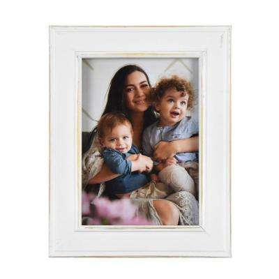 Longwood Rustic White 5 in. x 7 in. Picture Frame (Set of 2)