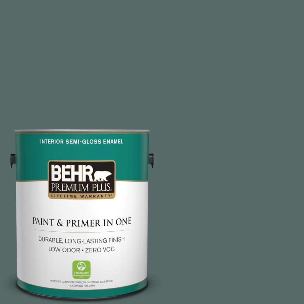 1-gal. #490F-6 Agave Frond Zero VOC Semi-Gloss Enamel Interior Paint