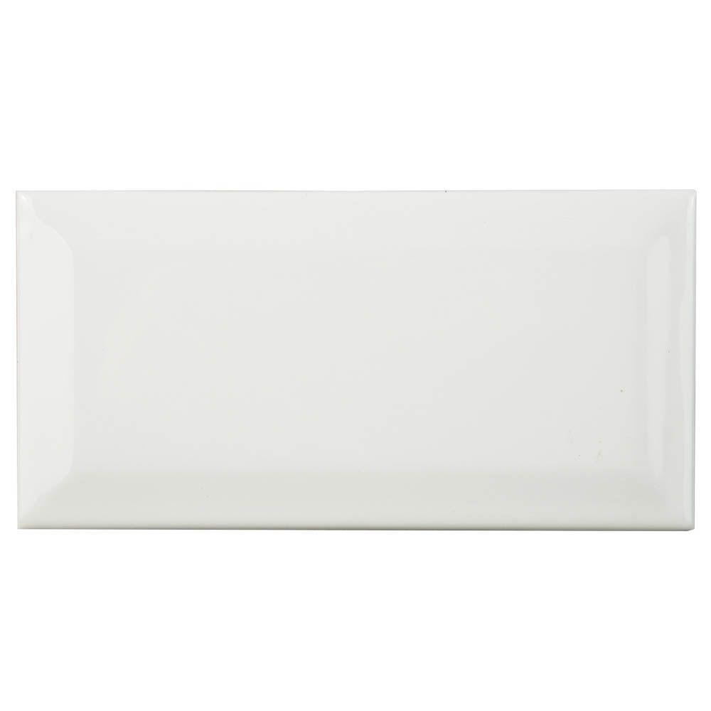 Merola Tile Plaqueta Biselada Blanco 3 in. x 6 in. White Ceramic Wall Tile (1 sq. ft. / pack)