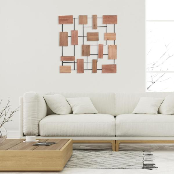 Pinnacle 35 in. Geometric Brown Wood Block Metal Wall Decor 1807-3868