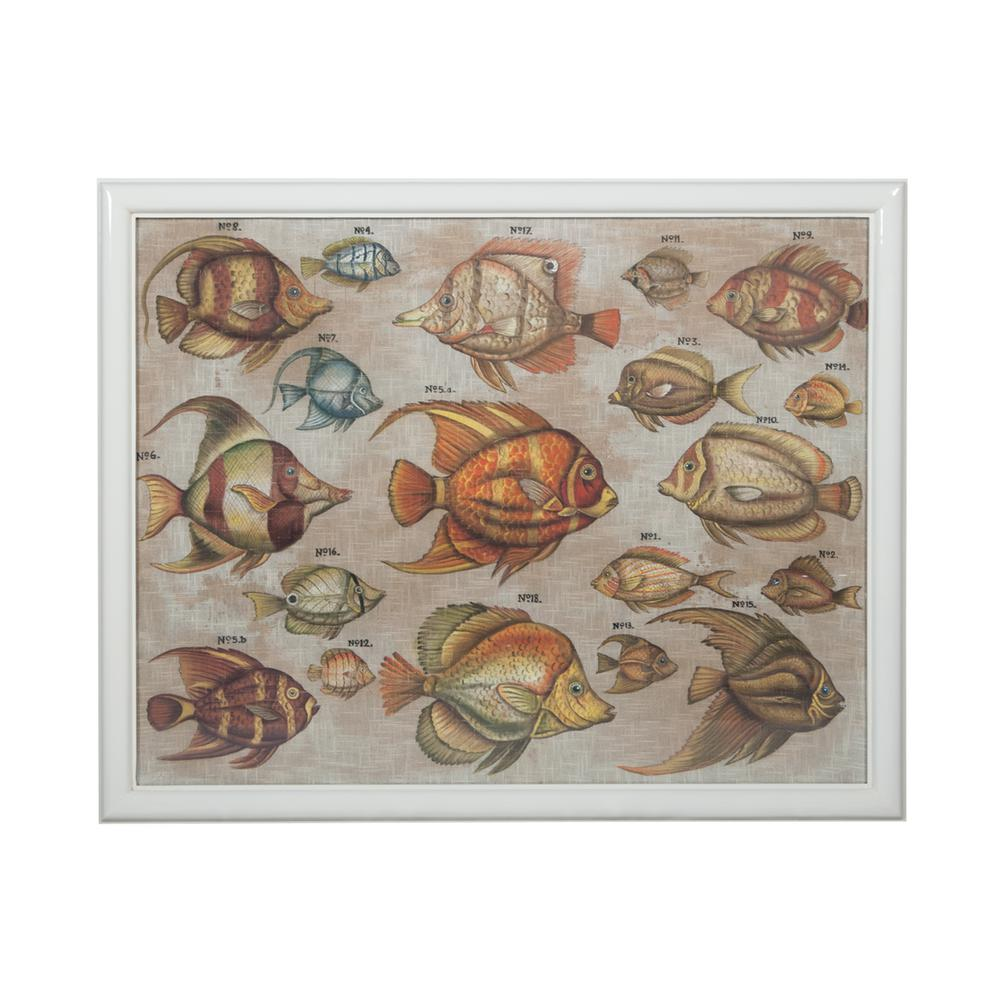 "39 in. x 48 in. ""Tropical Fish Study"" Hand Painted Framed"