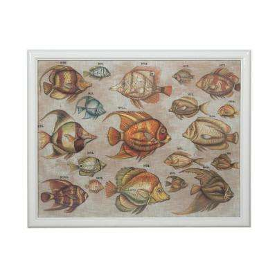 """39 in. x 48 in. """"Tropical Fish Study"""" Hand Painted Framed Canvas Wall Art"""