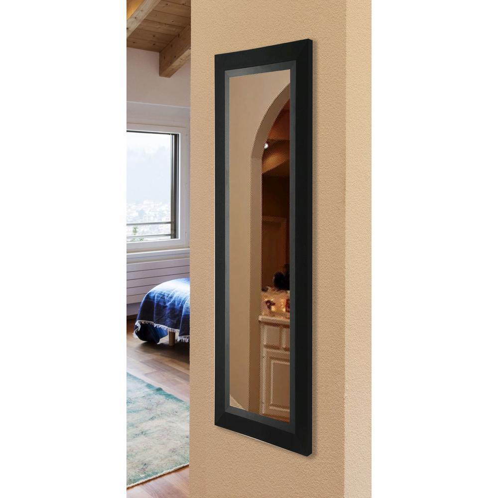 20.5 in. x 59.5 in. Vanity Attractive Matte Black Non Beveled Slender Body Mirror