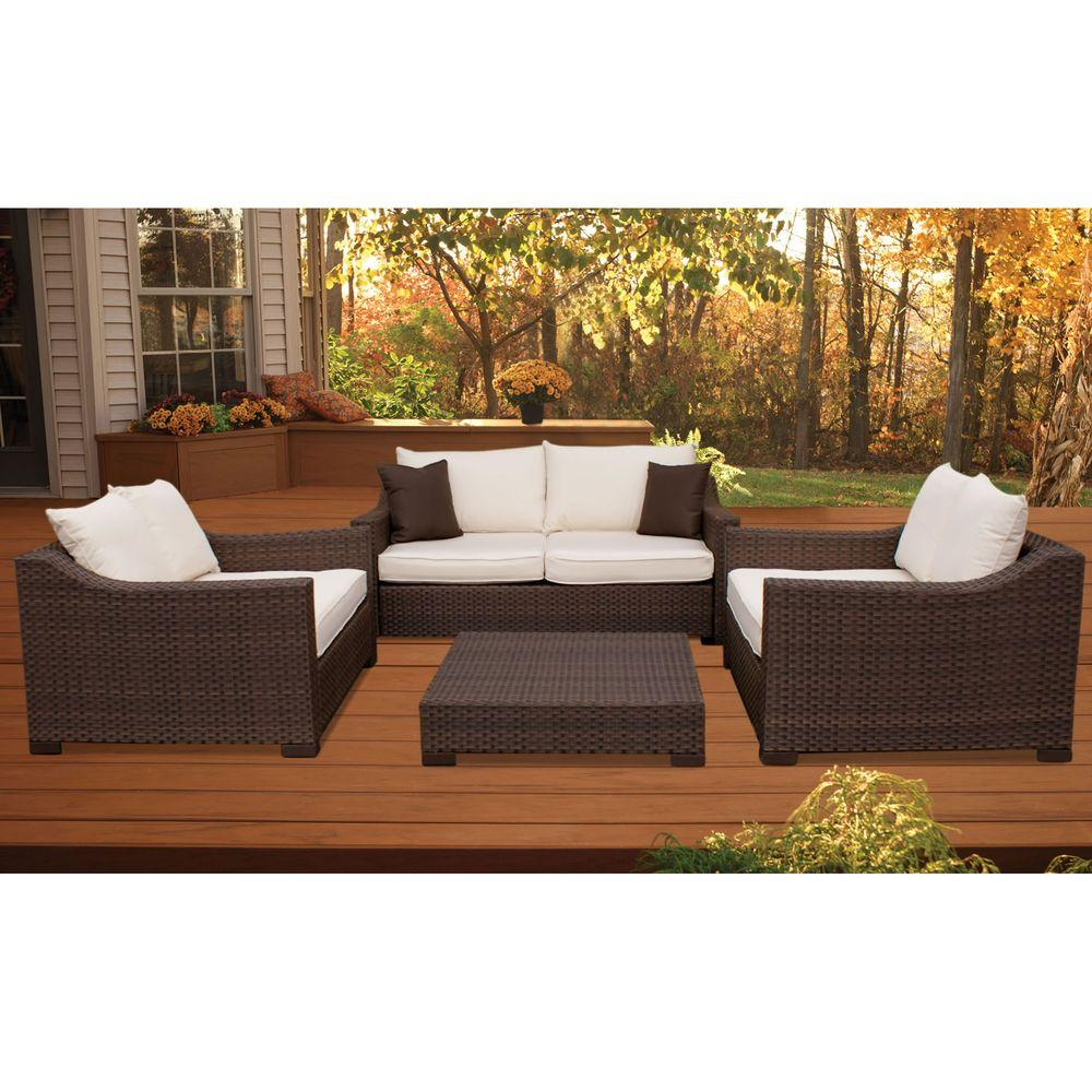 Atlantic Contemporary Lifestyle Oxford 4-Piece Patio Seating Set with Off-White Cushions