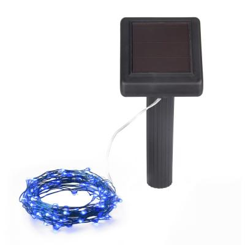 20 ft. Solar Outdoor 100-Micro LED Bulb Purple Integrated LED String Light