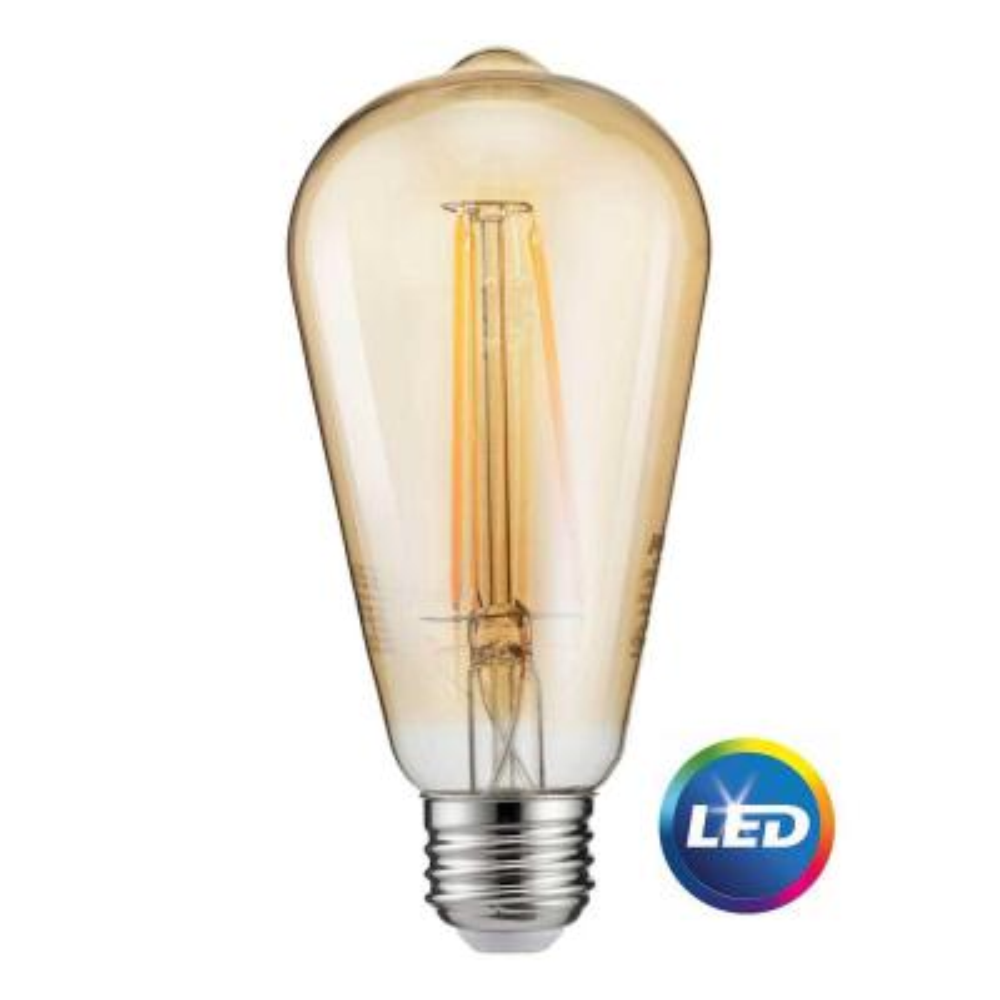 40-Watt Equivalent ST19 Dimmable Indoor/Outdoor Vintage Glass Edison LED Light Bulb Amber Warm White (2000K)