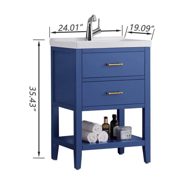 Casainc Blue 24 In Bathroom Vanity And Sink Combo With Storage Only Vanity And Sink Vanity Top In White With White Basin Cr D0102hhlscg The Home Depot