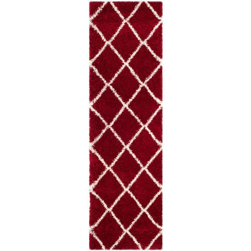 Hudson Shag Red/Ivory 2 ft. 3 in. x 10 ft. Runner Rug