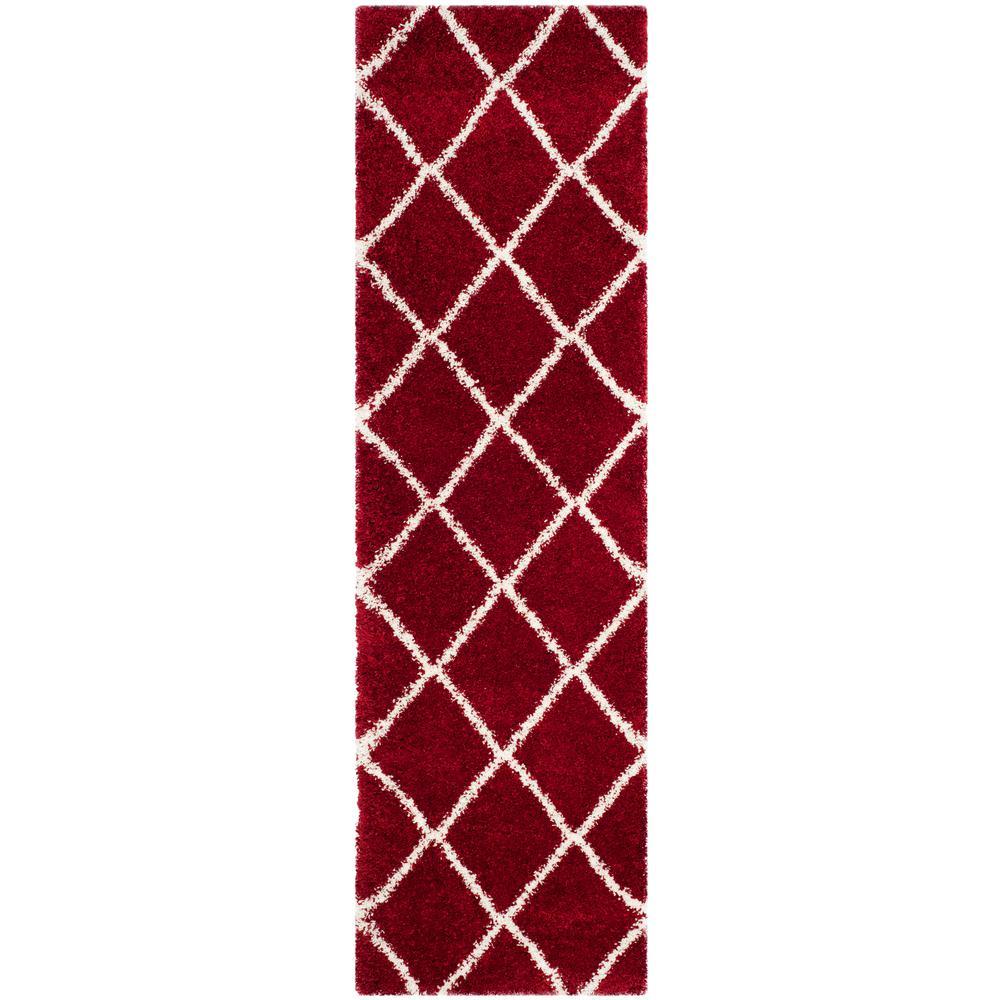 Hudson Shag Red/Ivory 2 ft. 3 in. x 6 ft. Runner Rug