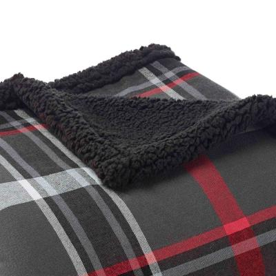 Flannel Plaid Sherpa Reverse Throw Blanket