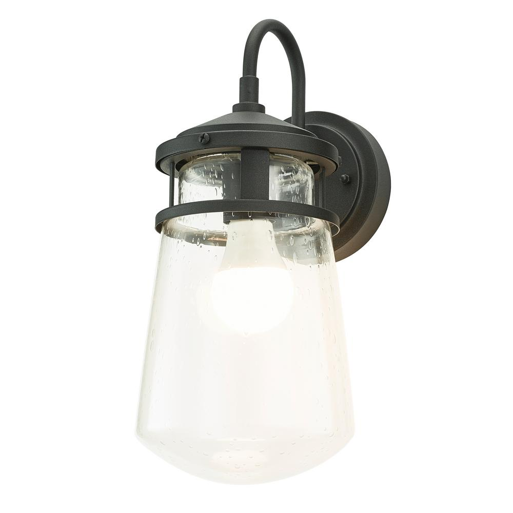 Home Luminaire 1 Light Black Nautical Outdoor Wall Coach Sconce With Raindrop Gl