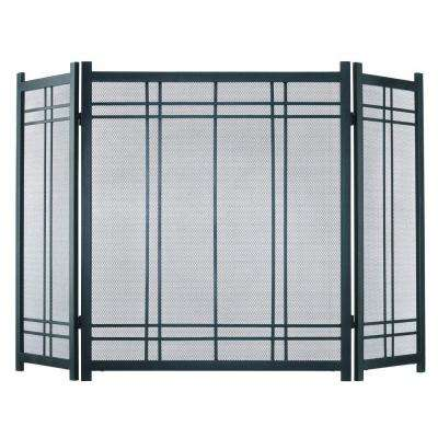 Preston Vintage Iron Steel 3-Panel Fireplace Screen